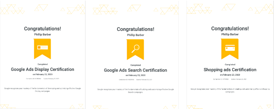 Phillip Barber Google Certificates
